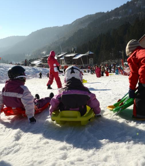 Enfants en luge - La Bresse