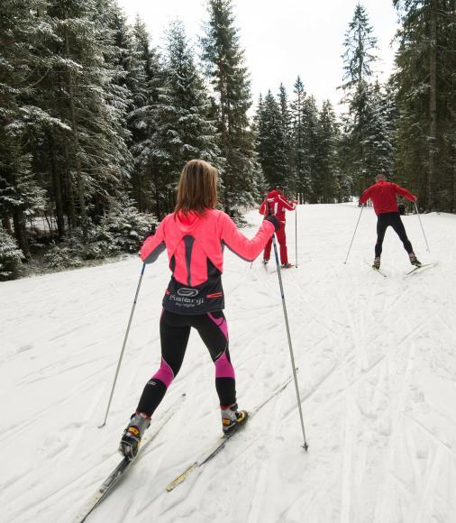 Skieurs en piste